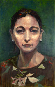 Greater Angle-wing Katydid, An oil painting by Je, a Figurative Artist base in NYC