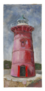 Little Red Lighthouse Painting by Je, a figurative artist based in New York City