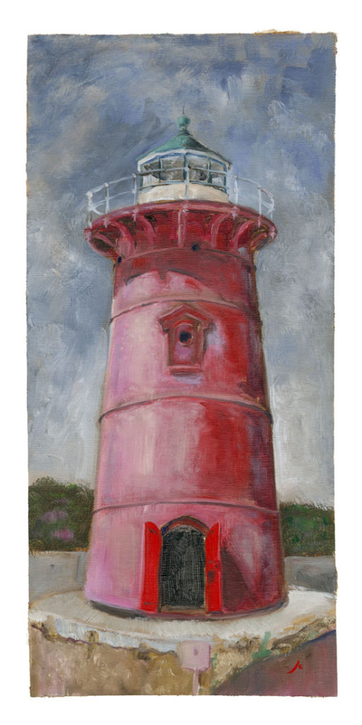 Little Red Lighthouse, Oil on Linen, 15 inches x 7 inches