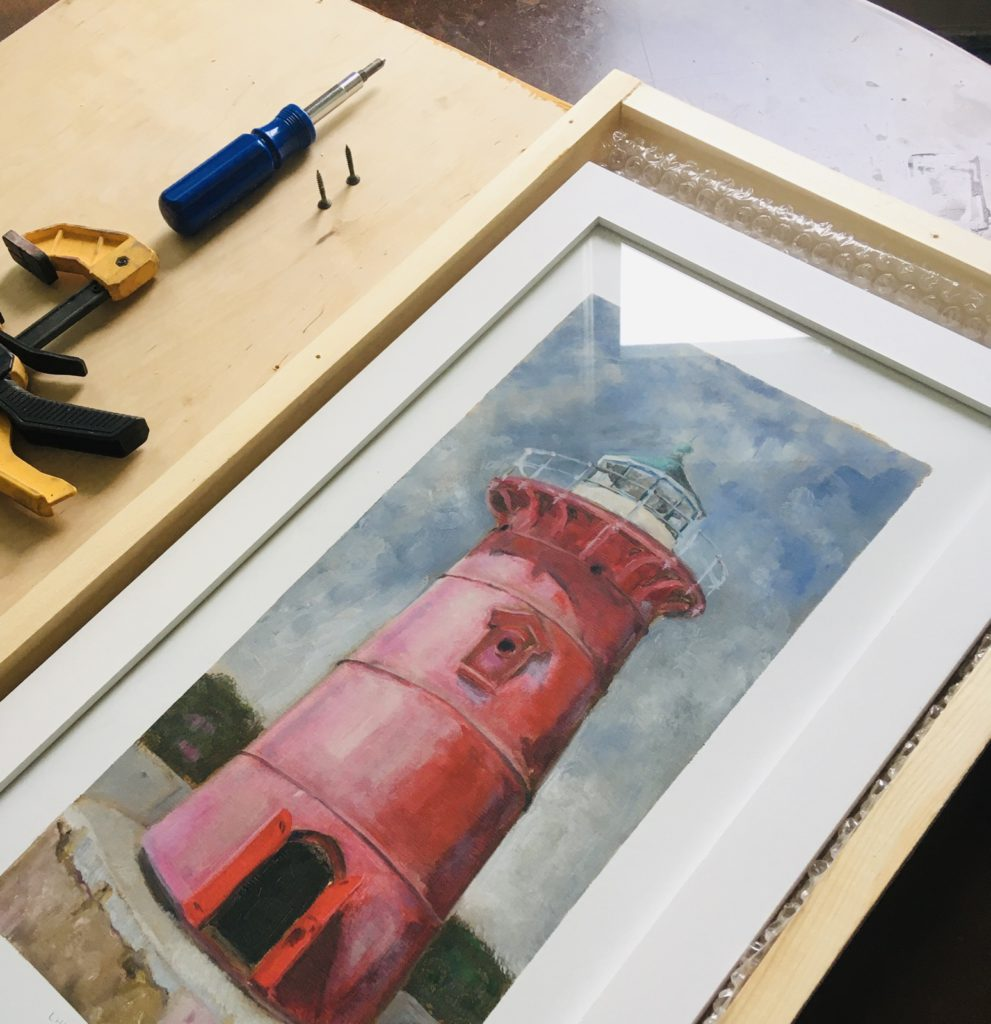 Little Red Lighthouse inside a shipping crate